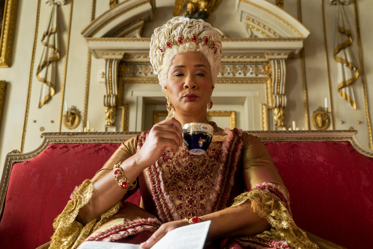 queen charlote drinking a cup of tea